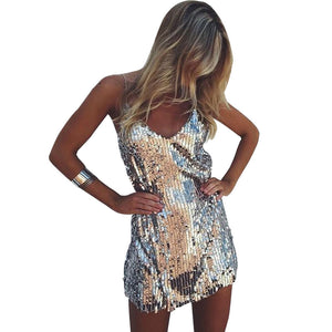 Silver V-Neck Sequin Sexy Mini Dress