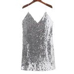 Load image into Gallery viewer, Silver V-Neck Sequin Sexy Mini Dress