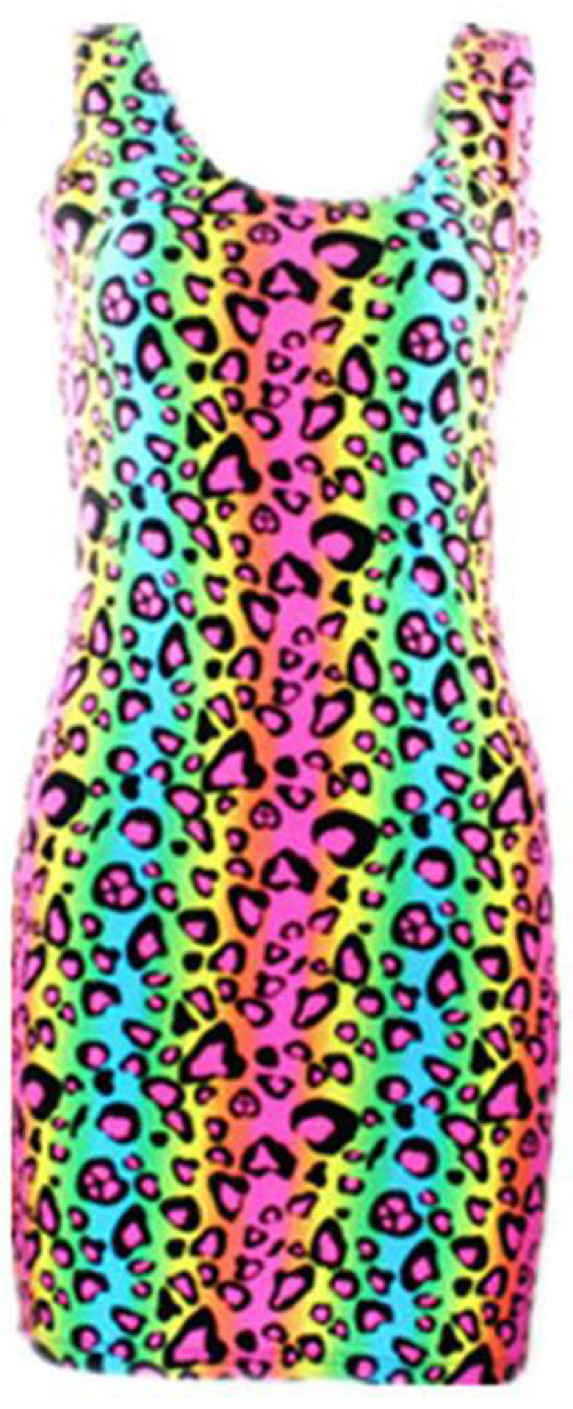 Neon Multi Colored Cheetah Animal Print Tube Bodycon Party Dress Costume - Neon Nation