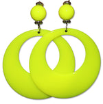 Load image into Gallery viewer, Neon Fluorescent Large Retro Hoop Dangle Costume Earring
