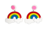 Load image into Gallery viewer, Colorful Rainbow Shaped Pride Earrings w/ Pink Stud