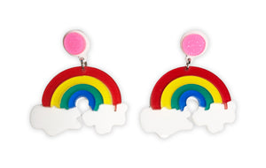 Colorful Rainbow Shaped Pride Earrings w/ Pink Stud