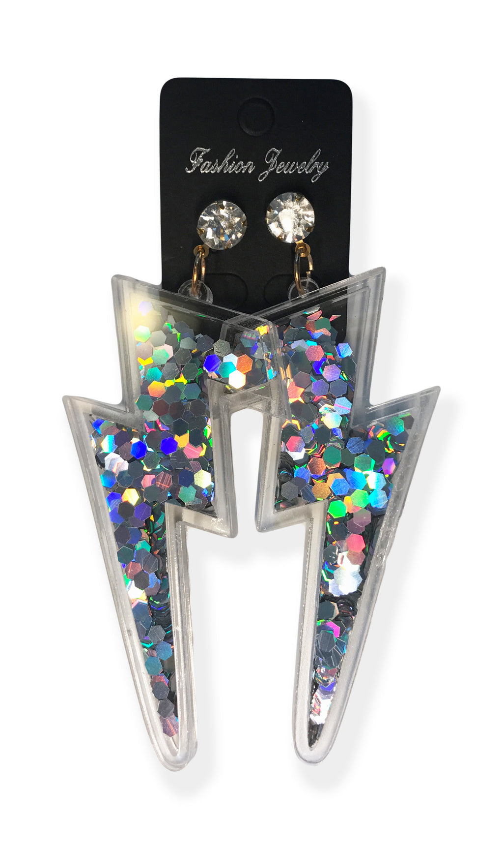 Lightning Bolt Earrings w/ Glitter Sparkle Sequins Inside - Neon Nation