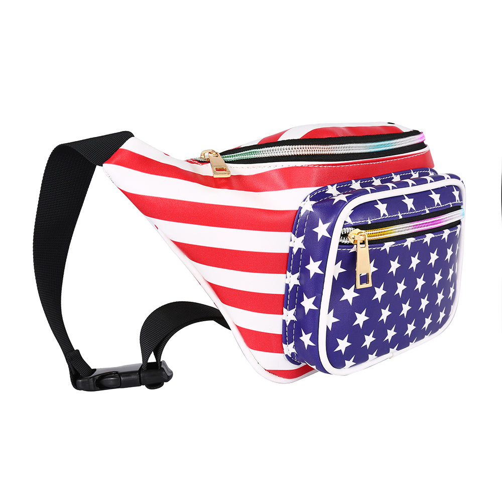 Patriotic American Flag Large Leather Fanny Pack