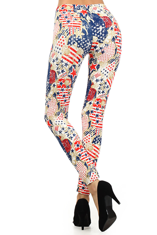 Red/Blue Patriotic Abstract American Flag Graphic Print Leggings Fourth of July