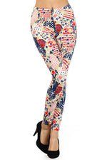 Load image into Gallery viewer, Red/Blue Patriotic Abstract American Flag Graphic Print Leggings Fourth of July