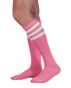 Unisex Colored Knee High Tube Socks - White Stripes