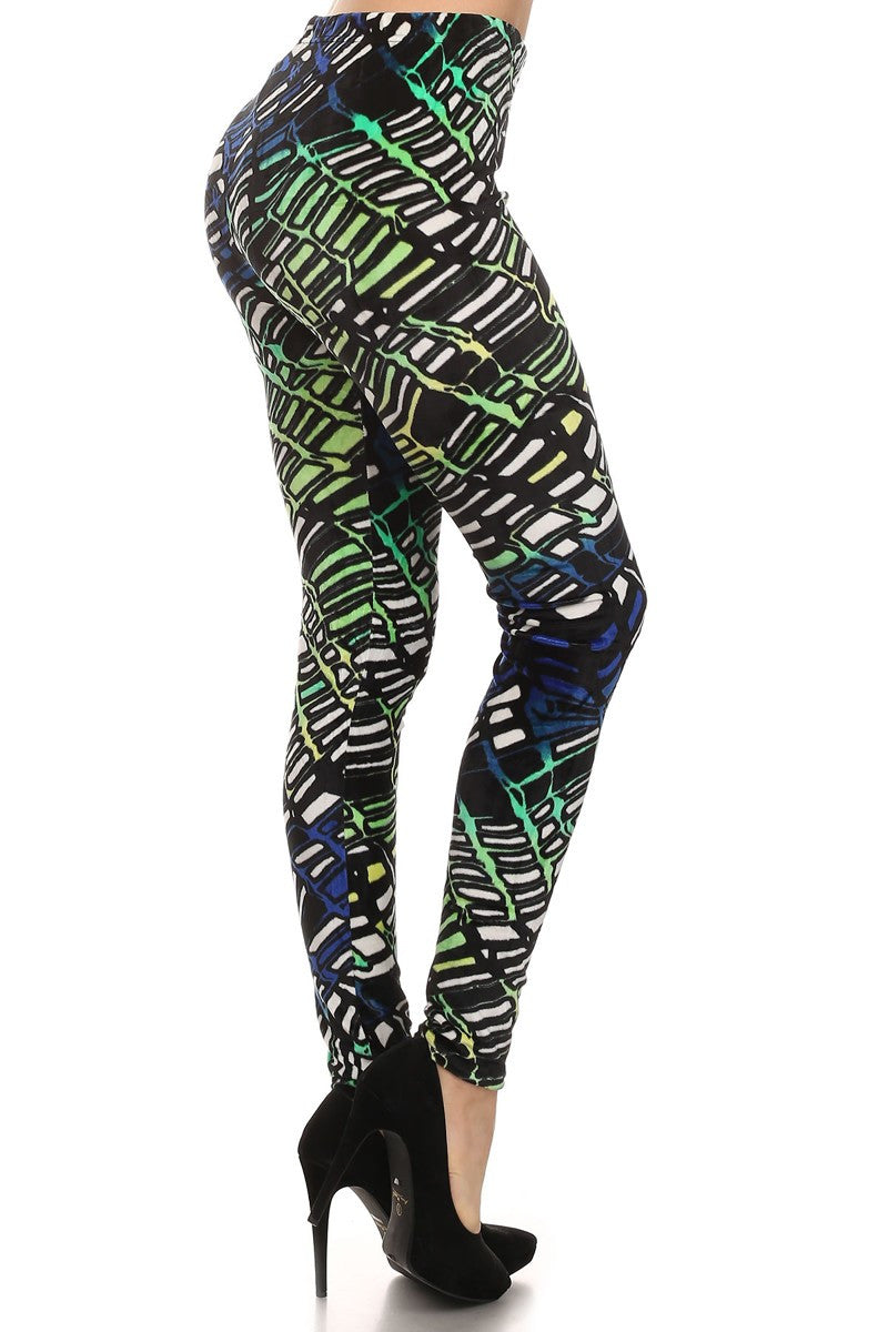 Green / Blue Velour Multi Color Neon Abstract Print Leggings - Neon Nation