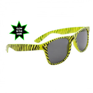 Glow In The Dark Zebra Print Wayfarer Sunglasses - Neon Nation