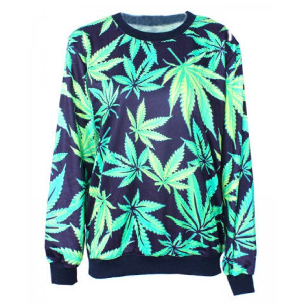 58b2096f6bda44 Green Marijuana Weed Leaf Print Pattern Pull Over Sweater Sweatshirt 420  Ganja