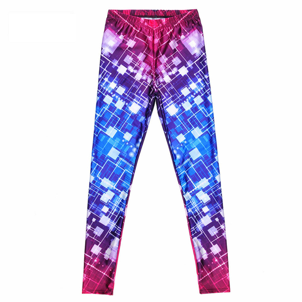 Gradient Galaxy Geometric Box Stitching Box Print Leggings