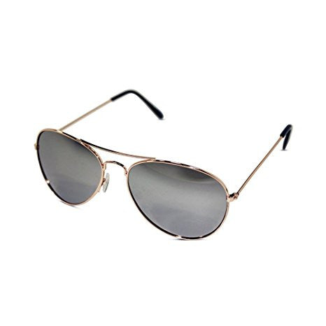 Unisex Kid Sized Aviator Sunglasses W/ Silver Mirrored Lens