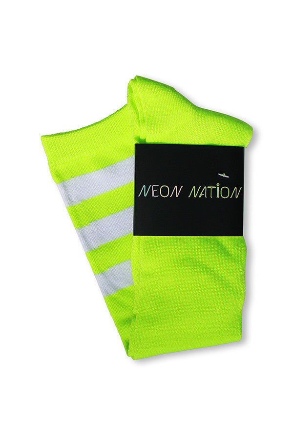 unisex adult size fluorescent neon lime green knee high tube sock with three white stripes
