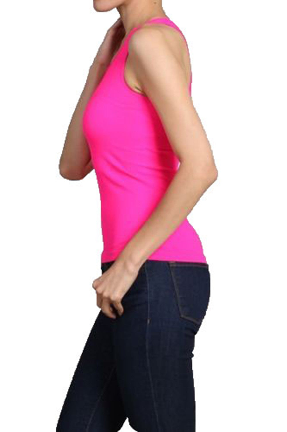 NEON SEAMLESS BASIC RIB-KNIT RACERBACK TANK TOP ONE SIZE ATHLETIC SPORT T-SHIRT - Neon Nation