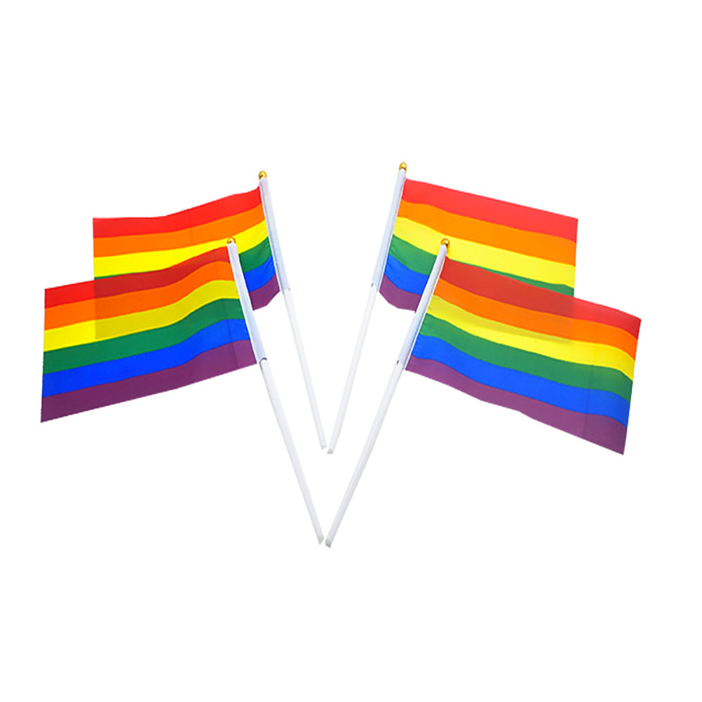10 Pack Hand Waving Gay Pride LGBTQ Flag