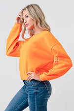 Load image into Gallery viewer, Long Sleeve Fleece Sweatshirt with Sleeve Pocket Detail