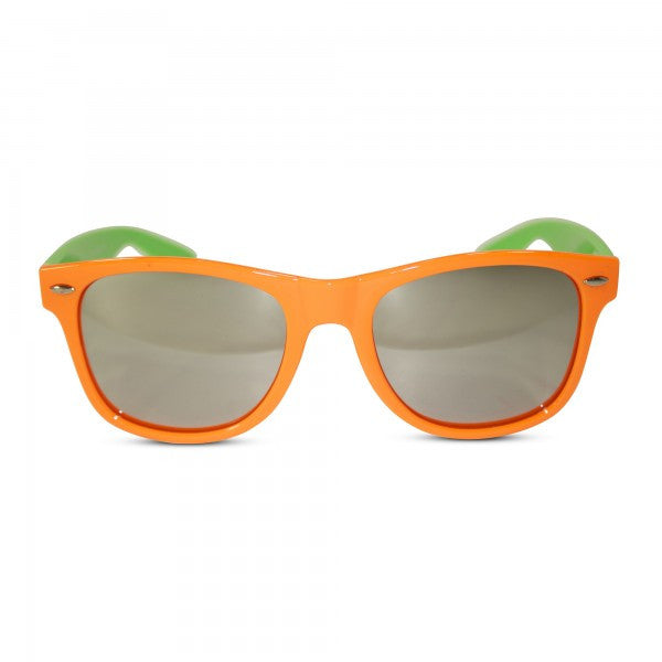 Neon Two-Tone Mirrored Wayfarer Style Sunglasses - Neon Nation