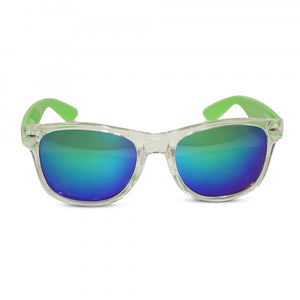 Transparent Frame Sunglasses with Neon Temples and Mirrored Lens