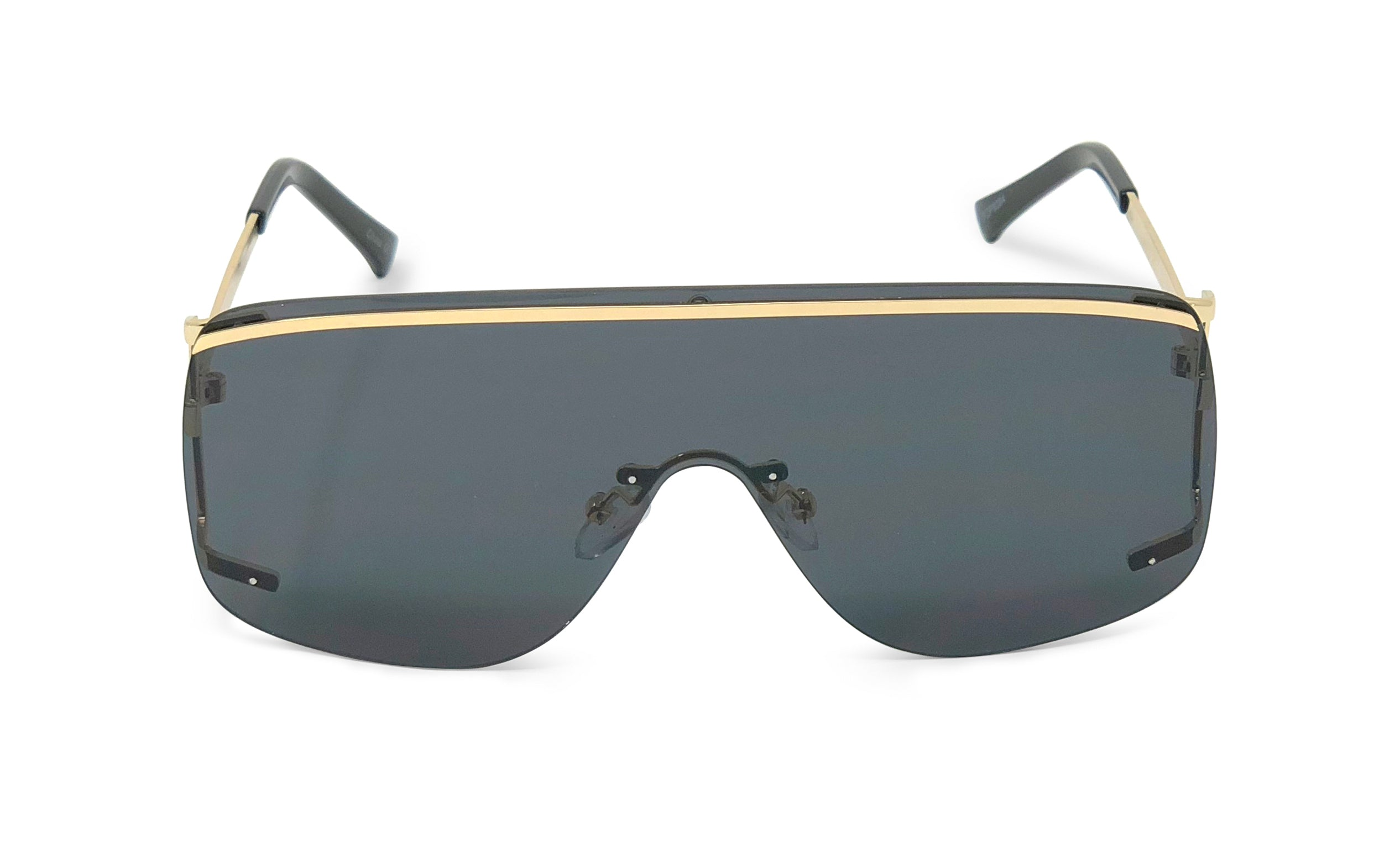 Rimless Sidecut Flattop Mirrored Sunglasses