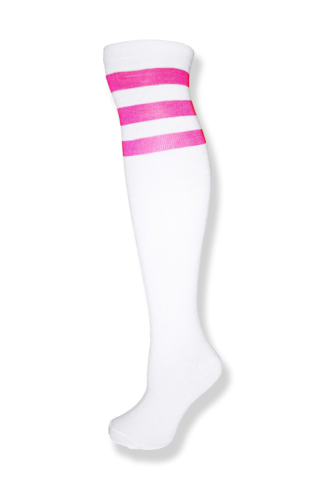 White with Neon Pink Stripes Knee High Sock