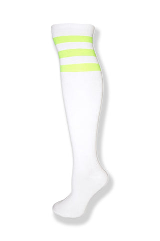 White with Neon Green Stripes Knee High Sock