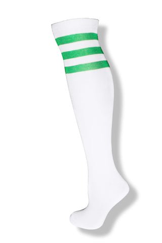 White with Baby Blue Stripes Knee High Sock