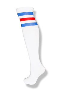 White with Blue and Red Stripes Knee High Sock