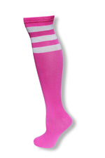 Load image into Gallery viewer, Neon Purple with White Stripes Knee High Sock