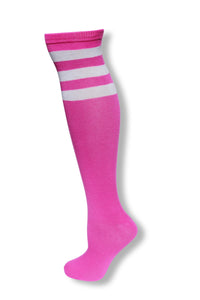 Neon Purple with White Stripes Knee High Sock