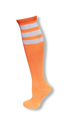 Neon Orange with White Stripes Knee High Sock