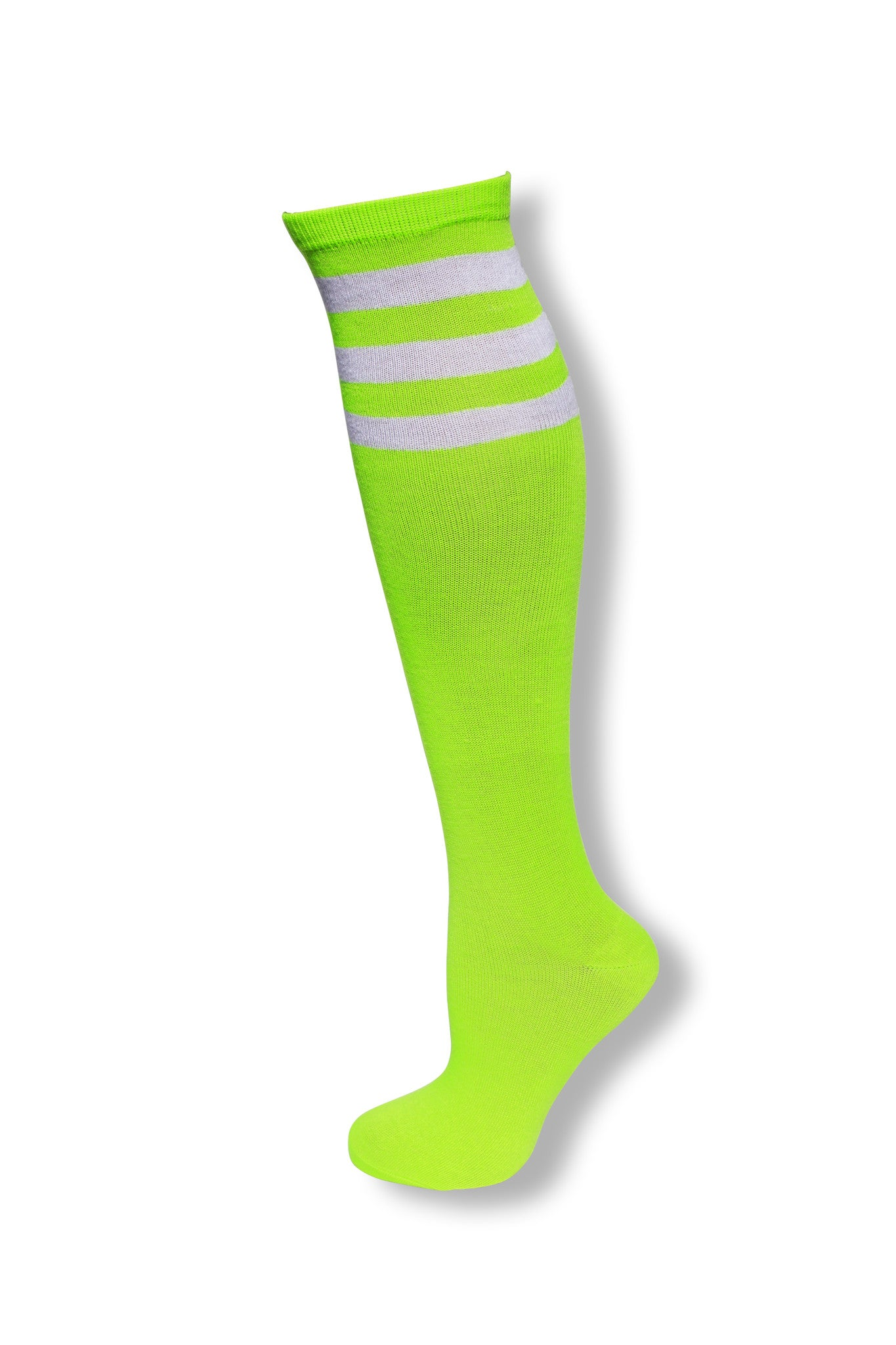 1addb043797 Neon Green with White Stripes Knee High Tube Sock – Neon Nation