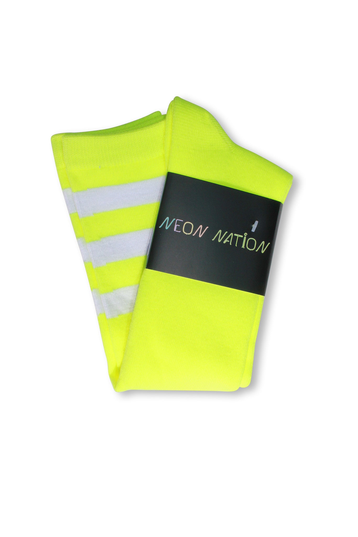 Neon Yellow with White Stripes Knee High Sock