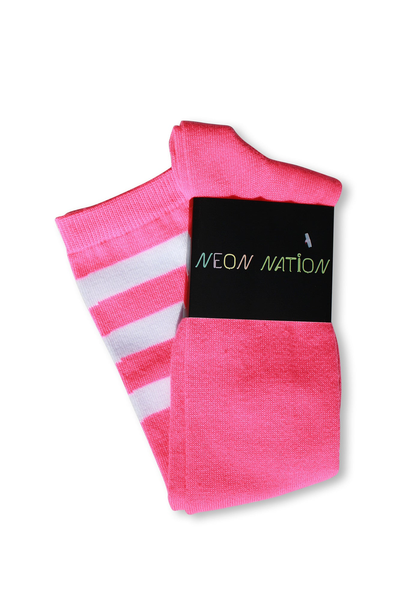 Neon Pink with White Stripes Knee High Sock