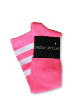 Load image into Gallery viewer, Neon Pink with White Stripes Knee High Sock