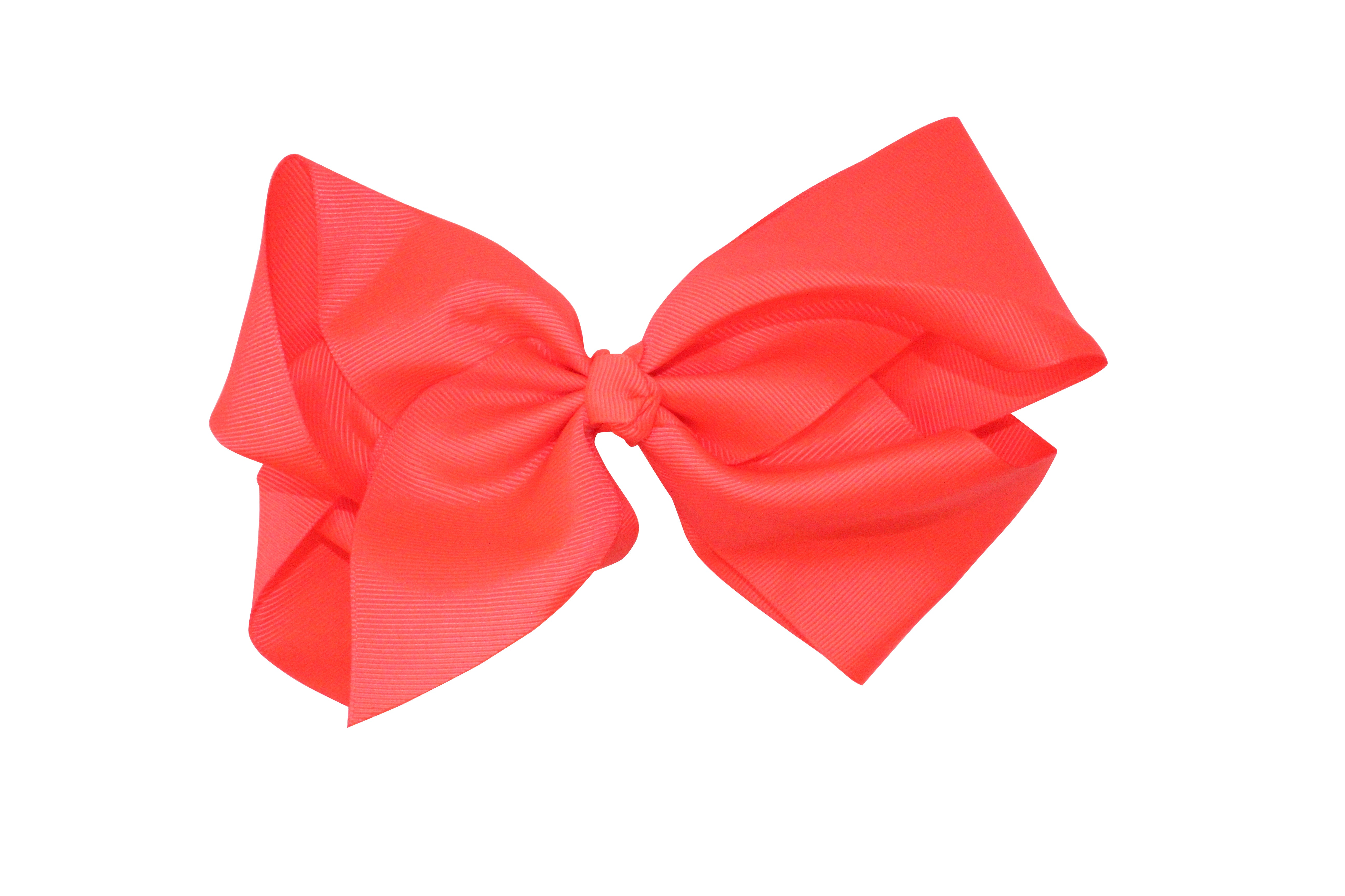 Large Jumbo Neon Colored Grosgrain Ribbon Bow Tie Hair Clip - Neon Nation