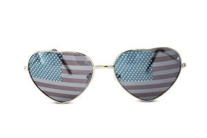 Heart Shaped American US Flag Stars & Stripes Sunglasses