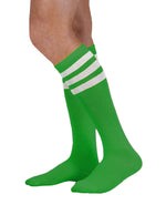 Load image into Gallery viewer, Unisex adult size kelly green knee high tube sock with three white stripes