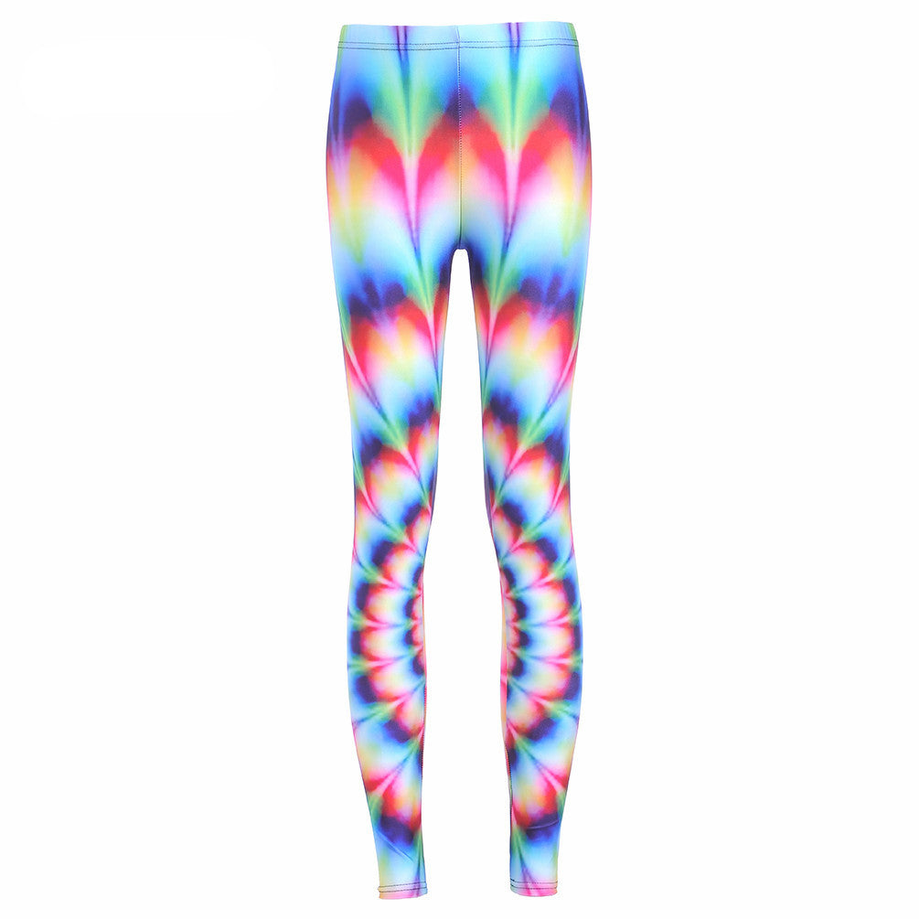 Neon Nation Rainbow Gradient 3D Tie Dye Print Leggings Pants - Neon Nation
