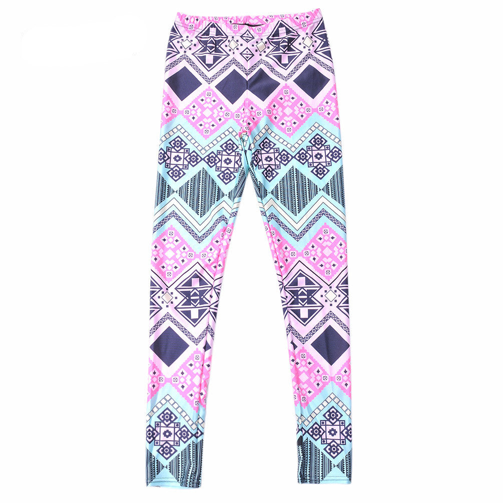 Neon Nation Pink / Blue Geometrical Aztec 3D Print Leggings - Neon Nation