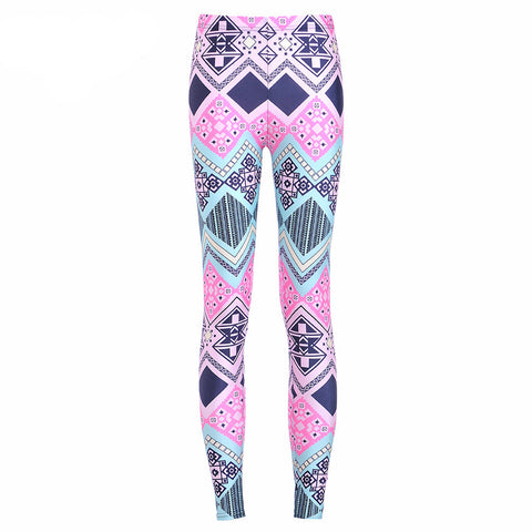 Pink Ombre Gradient Print Quality Made Athletic Active Wear Leggings Pants