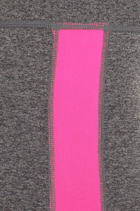 Gray / Neon Pink Athletic Leggings w/ High Rise Banded Waist