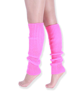 Neon Colorful Knit Ribbed Adult Size Knee High Leg Warmers 80s Costume
