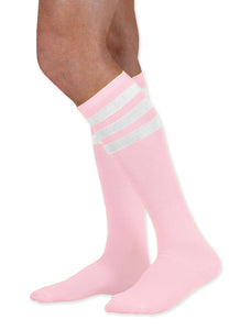 Unisex adult size light pink knee high tube sock with three white stripes