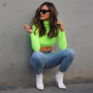 Neon Long Sleeve Turtle Neck Knitted Crop Top Shirt