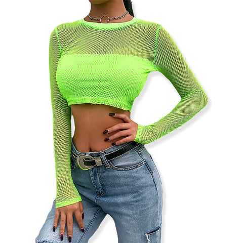 Long Sleeve Mesh Neon Fishnet Crop Top T-Shirt