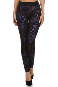 Black with Purple Metallic Zebra Animal Print Pattern Leggings