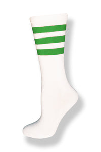 Unisex Mid Calf High White Sock w/ Kelly Green Stripes