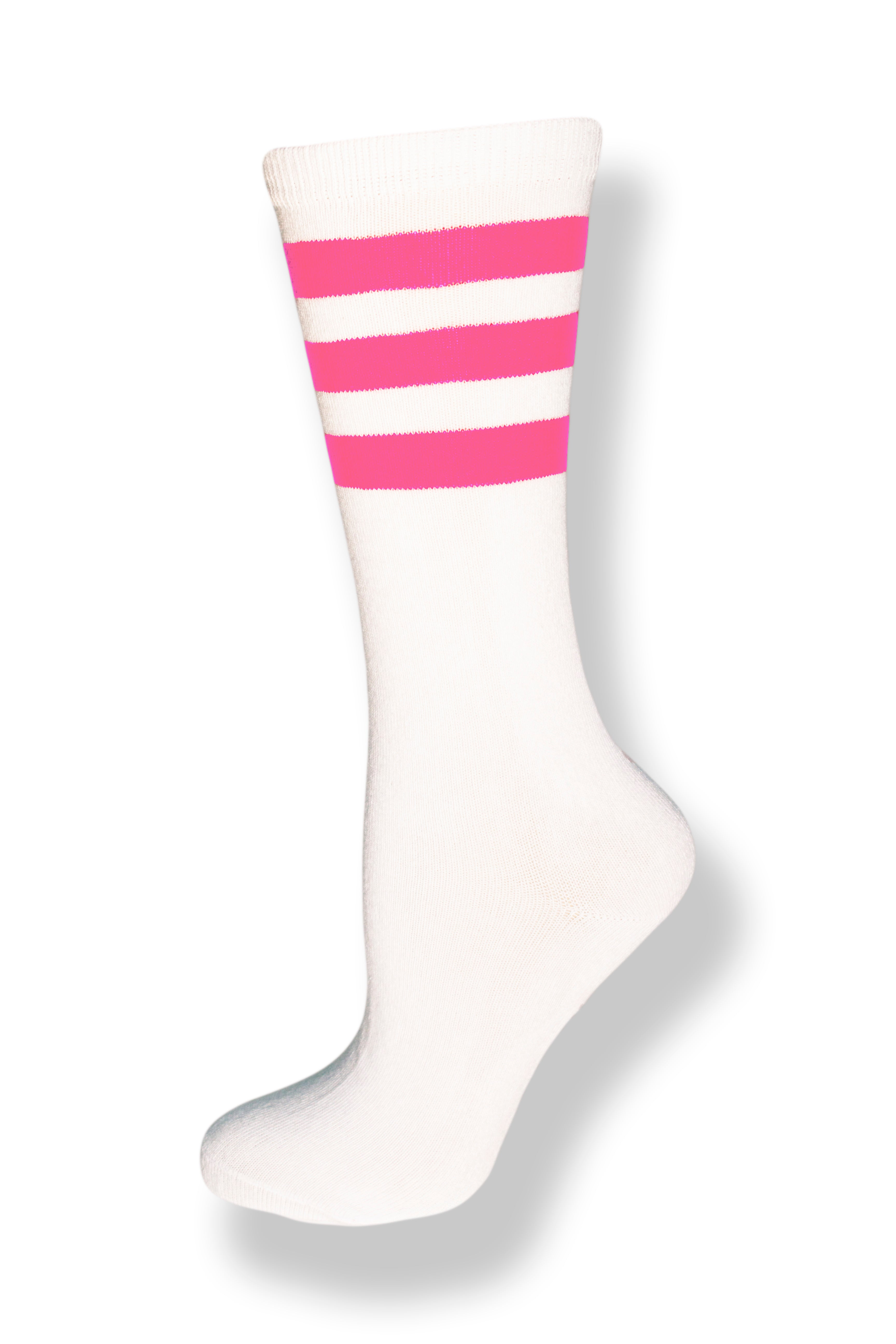Calf high crew cut white sock with three pink stripes