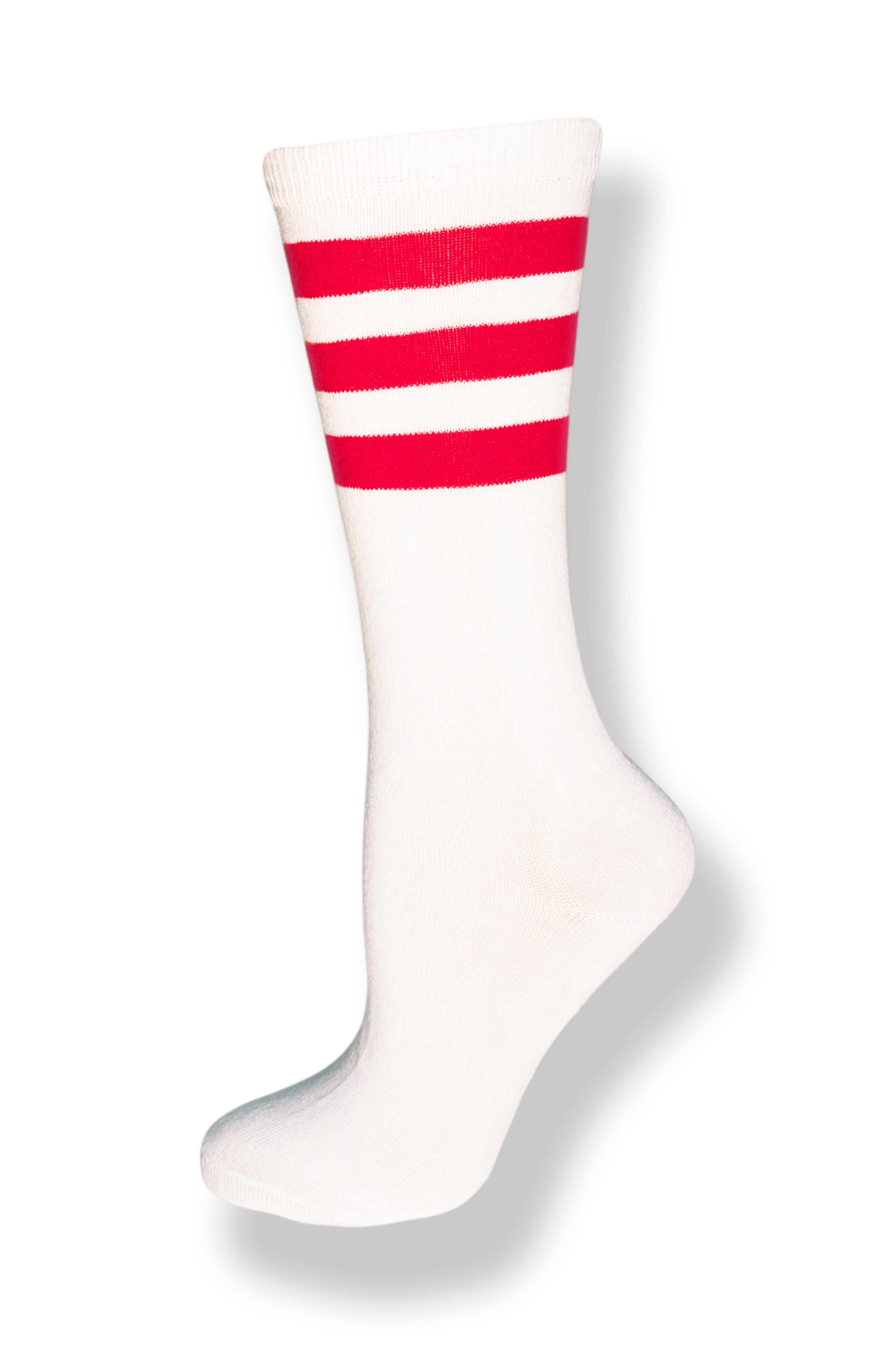 Calf high crew cut white sock with three red stripes