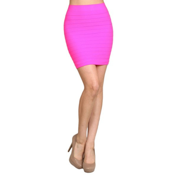 Solid Color Short Knee Length Slim Stretchy Fitted Pencil Skirt Dress - Neon Nation